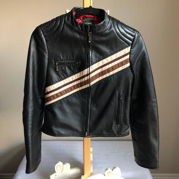 Mango Moto Retro leather Jacket w/Stripe Details